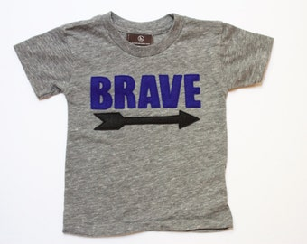 unisex kids' clothing - BRAVE - baby boys clothes - tops, toddler boy t shirt - girls tops - kids graphic tee - arrow - unique kids gift