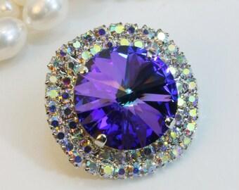 Royal Blue Brooch Pin Swarovski Crystal AB 18mm Sapphire Purple Blue Cobalt Brooch Lapel pin Rhinestone Brooch,Silver finish,Heliothrope,SA6