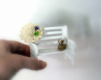 Park bench-Small wooden bench with garden hat & flowers-small gardening bench-Secret garden bench-Dollhouse bench-