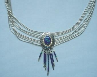 Liquid silver necklace turquoise jasper signed TK sterling Southwestern vintage