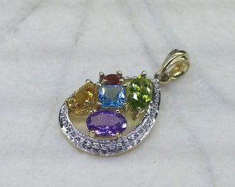 14K Solid Yellow Gold Fine Jewelry, Set With Genuine Multi Colors Semi Precious Gemstone, Fine Gemstones Jewelry Pendant