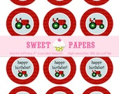 "INSTANT Download Tractor 2nd Birthday 2"" Printable Cupcake Toppers - by Sweet Papers, Red Green Black Tractor Boy Birthday Printabl"