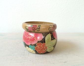 vintage bangles / wood & brass bracelets / La Flora bangle set