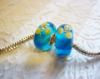 Sea Blue European Bead Murano glass with Crystals
