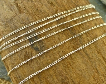 Sterling Silver Chain - By The Foot - Itty Bitty 1.1mm Curb Chain - btfibcs