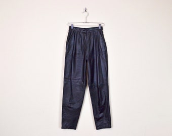 Vintage 80s Black Leather Pant High Waist Pant Skinny Pant Skinny Leg Taper Leg Pleat Trouser Motorcycle Pant Moto Biker Pant Women S Small
