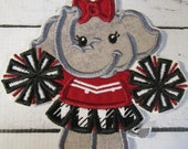 Elephant Cheerleader - Iron On or Sew On Embroidered Custom Made Applique