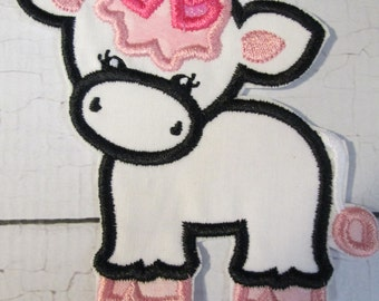 Girl Cow With Bow and Boy Cow - Iron On or Sew On Embroidered Applique