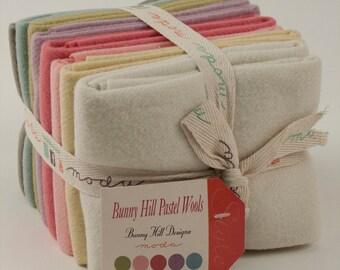 Pastel Wool Fat Quarter Fabric Bundle - Bunny Hill Designs - Moda - 8 FQ