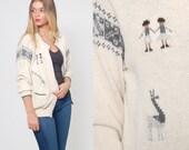 Vintage 90s ALPACA Wool Cardigan Peruvian Print Cardigan ETHNIC Slouchy Boyfriend Sweater