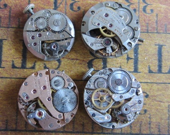 Featured - Steampunk supplies - Watch movements - Vintage Antique Watch movements Steampunk - Scrapbooking j44
