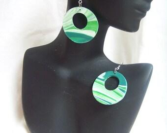Green and White Tie Dye Earrings