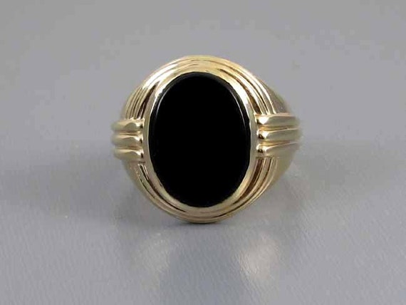 Mans signed Jones & Woodland 14k gold vintage Art Deco black onyx ring 15 grams, size 9-3/4