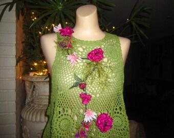 Crochet Olive Tank Top, Baby Doll Top, Lagenlook , Shabby Chic, Boho,  Fantasy, Fairy ,  Romantic.