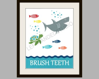 Target Circo FISH Collection Art Print, SHARK Bath Decor, TURTLE Wall Art, Childrens Bath Art