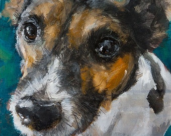 Jack Russell Terrier on Aqua Blue Background - Original Painting by Clair Hartmann