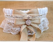 Lovely Vintage Style White Lace Garter Set with Burlap and Vibrant Crystal Accents...