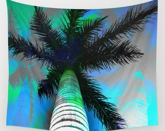 Posterized palm tree tapestry, fiji wall hanging, tropical tapestry, living room art wall art tapestry island wall hanging psychedelic palms