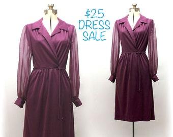 SALE! Vintage 70s Amethyst Mist Dress