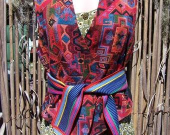 Boho Vest, Tribal vest, Cotton vest, tapestry vest, Jewel-tone vest, size M