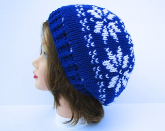 Women's Knit Hat - Fair Isle Beanie - Snowflake Hat - Blue and White Hat - Reversible Hat - Slouchy Beanie - Warm Winter Hat - Double Knit