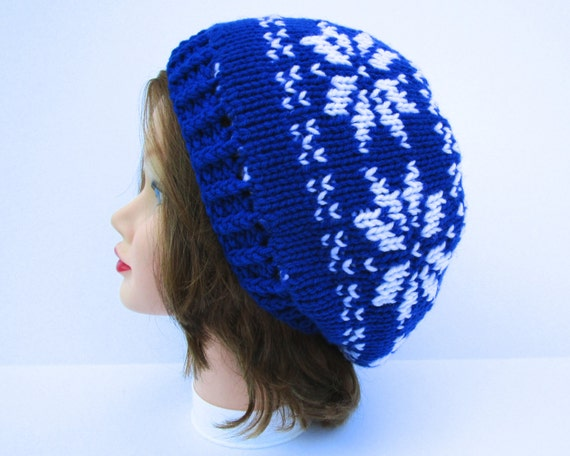 Double Knit Hat Fair Isle Beanie Snowflake Hat Blue and