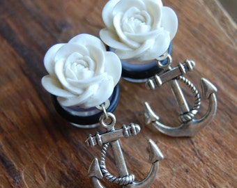 "9/16"" (14mm) Cream White Rose Flower Plugs with Anchor Charms .Hidden Gauges for stretched ears."