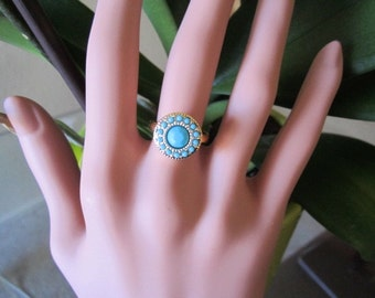 Turquoise Accent Round Ring