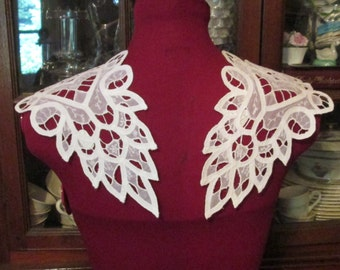 Lace Collar Battenburg 2 Piece Vintage Tape Lace White Sewing Trim Embellishment Supplies Focal Point