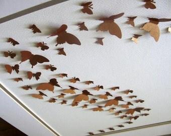 11x14 Shimmery Copper 3D Butterfly Art. Butterfly Wall Art, Decor, Nursery Art. Ready to Ship