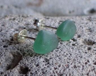Jade Green Sea Glass Sterling Silver Studs Post Earrings (669)