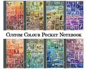Travel Notebook, CUSTOM COLOURS - Upcycled A6 Pocket Journal - Postage Stamp Collage Art - Eclectic Boho Travel Gift for Writer, Memory Book