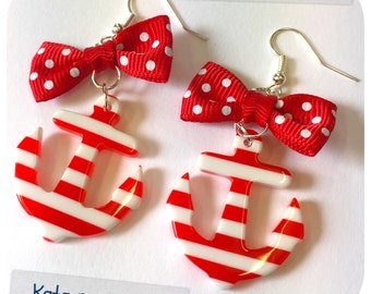 Large Old School plastic Pin Up- style striped Anchor Earrings with red bow