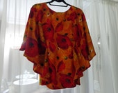 Womens' Boho Chic Tunic Blouse in  Shades of Reds, Oranges & Golds