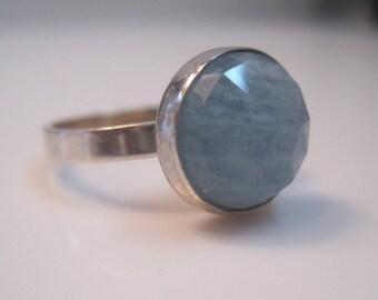Sterling Faceted Aquamarine adjustable Ring