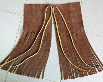 Two Tone Chocolate Brown Leather Hair Wraps - Native American Inspired, Fringed Suede Leather Hair Ties, Hippie Hair Ties, Boho Hair Wraps