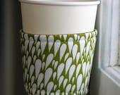 ON SALE Coffee cozy- green tear drop