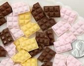 17mm Chocolate Bar Resin Cabochons - 9 pc set
