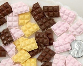 17mm Chocolate Bar Resin Cabochons - 9 pc set