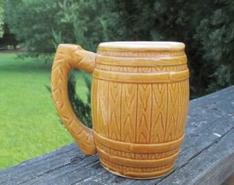 Vintage Stoneware Barrel Mug--Yellow Pottery Stein--Made in Japan--Retro Barware--Western Style Coffee Cup