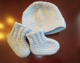 Blue Hat and Booties Set for Newborn