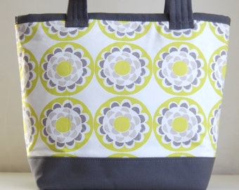 Chartreuse Blossom Fabric Tote Bag - READY TO SHIP