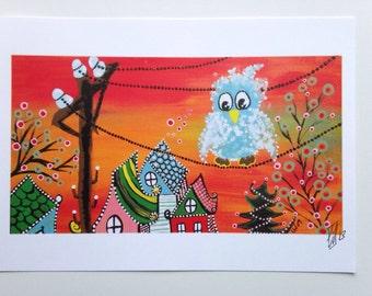 Art print Blue Bird of Happiness 5x7 Maine Folk Art