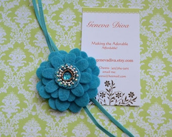 Dark Turquoise Felt Flower Stretch Headband