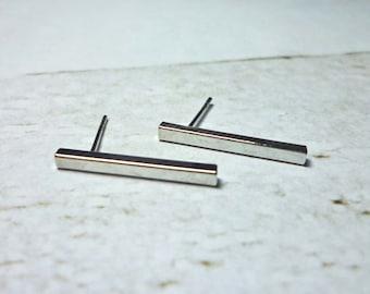 Long Bar Stud Earrings, Dainty Earrings