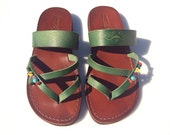 SALE 50% OFF - Brown / Green Moon Leather Sandals for Men & Women -- EURO # 42