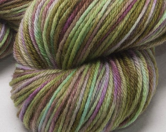 Hand dyed yarn Bluefaced Leicester BFL Hand painted DK yarn 100g skein Evergreen