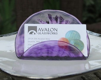 """Purple Business Card Holder, 4"""" Hand Blown Glass Desk Accessory in Transparent Purple, Office Display, Executive Gift, By Avalon Glassworks"""