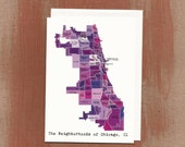 The Neighborhoods of Chicago in Purples: Boxed Notes / Tote Bag / Notebook / Art Print