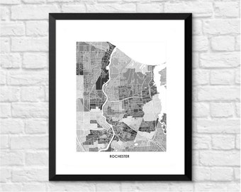 Rochester NY Map Print.  Choose the Colors and Size.  Upstate New York Artwork.  Institute of Technology Art.